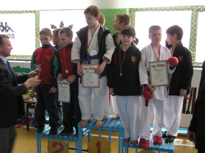 3rd place, team male kumite, age 10-11