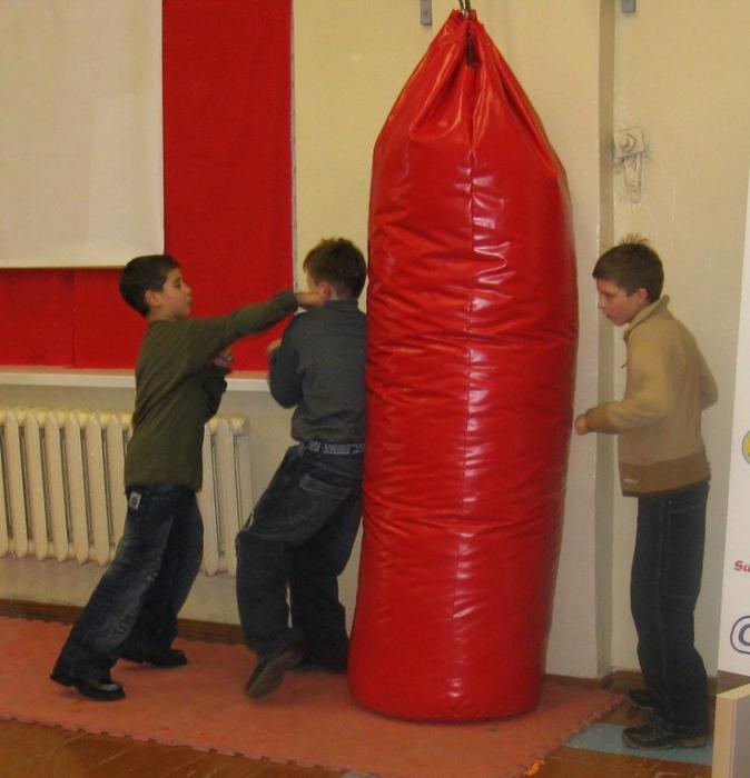 Some sparring by the children
